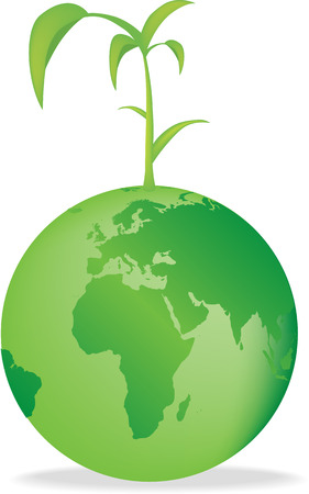 seedling growing: Vector illustration of the earth with a seedling growing Illustration