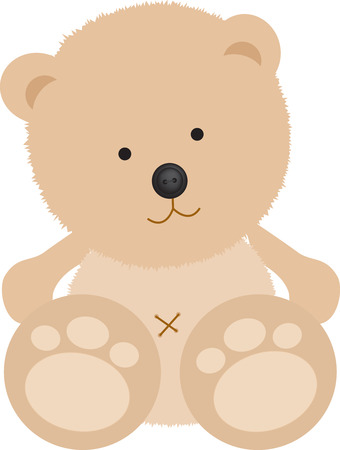 Isolated teddy bear with button nose on white Vector