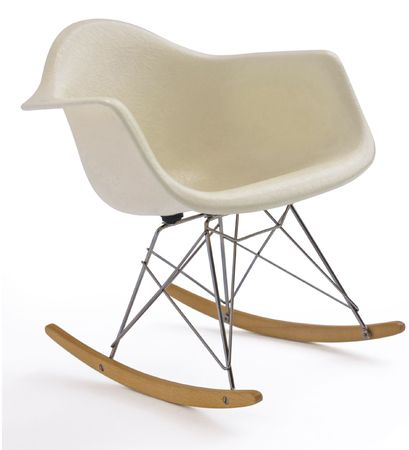 isolated white modern eames rocking chair with steel legs Stock Photo