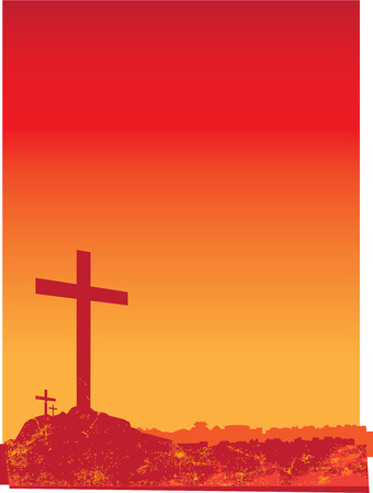 crucifixion: illustration of 3 crucifixion crosses on hill at sunset