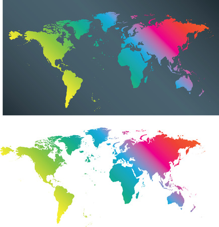 illustration of a flat multi coloured world map Stock Vector - 4759010