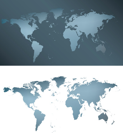 illustration of a grey and blue silver world map