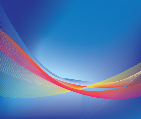 Illustration of very fine bright key lines forming an abstract image on blue background