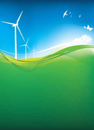 Illustration of  a green eco landscape with wind turbines Stock Vector - 4773600