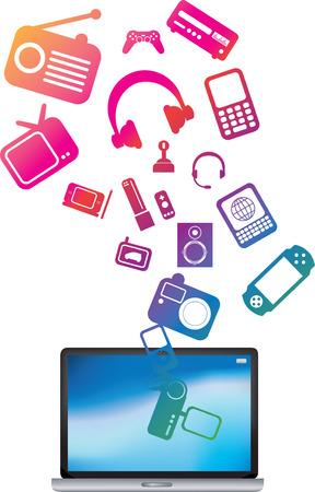musica electronica: Ilustraci�n de un ordenador port�til rebosante de carga de los servicios p�blicos