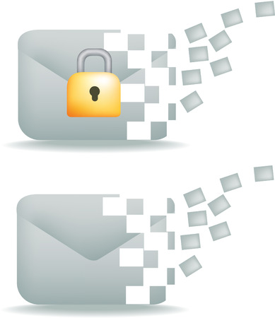 secure email communication icon, showing moving information Vector