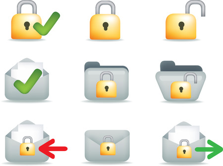 email communication: secure business, internet and email communication set of icons Illustration