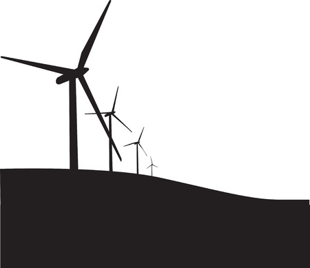 Illustration of 3 wind turbines, black silhouette