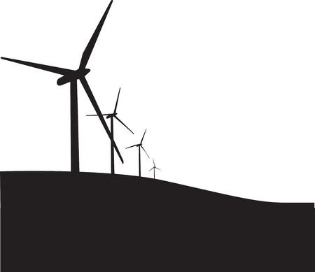turbina: Ilustraci�n de 3 turbinas e�licas, negro silueta