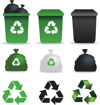 council: Illustration of  a set of rubbish bins and recycle symbols