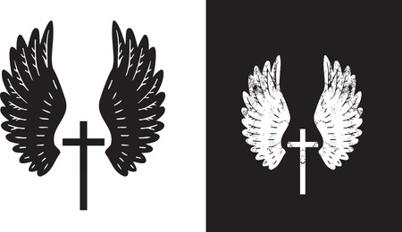 cross and wings: Ilustraci�n de los �ngulos de las alas que rodean una cruz cristiana