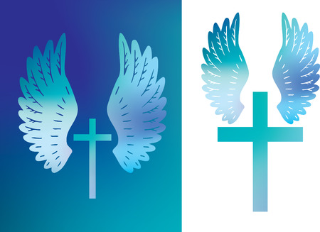 Illustration of a christian cross and angels wings Illustration