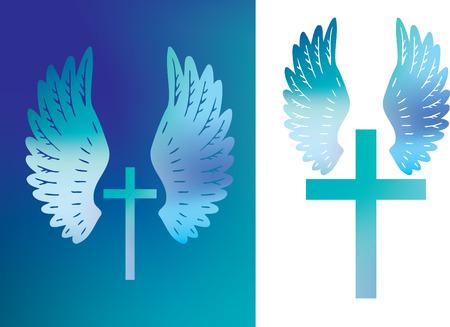 cross and wings: Ilustraci�n de una cruz cristiana y alas de los �ngeles