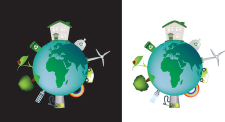 detailed illustration of the world and the concept of eco and caring Vector