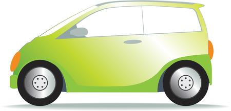 pretend: Illustration of  a small green eco friendly car