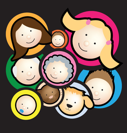Illustration of  a family montage in black Stock Vector - 4773609