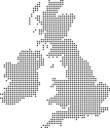 Illustration of a map of the uk made up of dots Vector