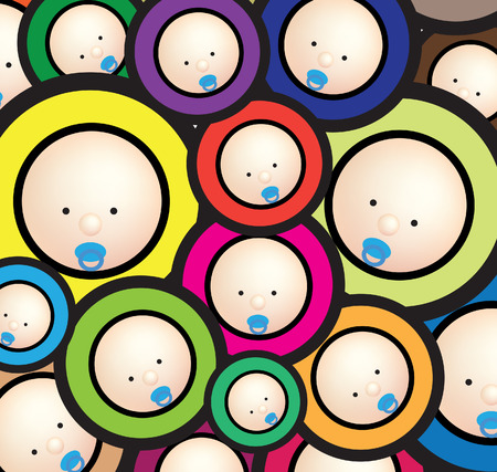 Illustration of  a funky baby wallpaper bright background Illustration
