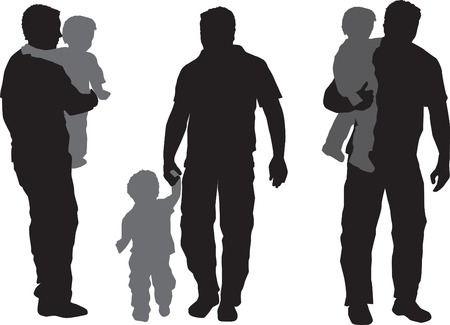 Illustration of  a a father and his child Vector