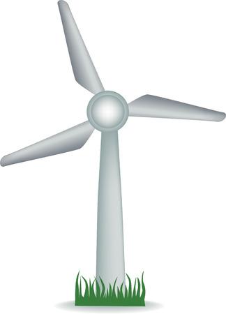 Illustration d'une éolienne sur l'herbe Vecteurs