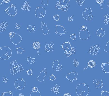 rammelaar: Illustratie van baby blauwe achtergrond achtergrond Stock Illustratie