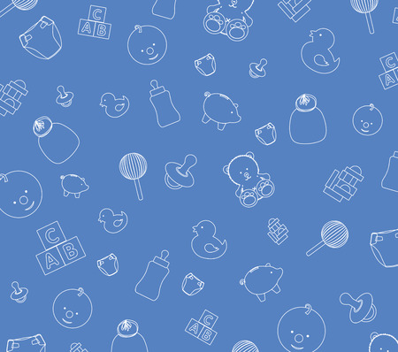 Illustration of blue baby wallpaper background Vector