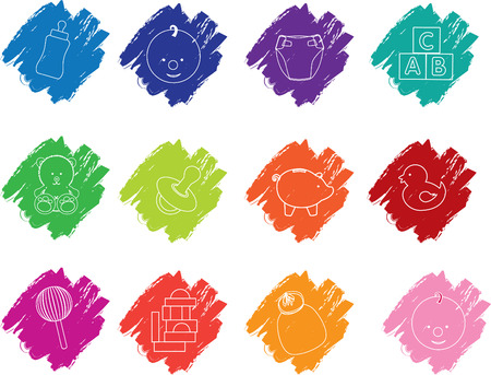 Illustration of  a set of baby crayon icons Vector