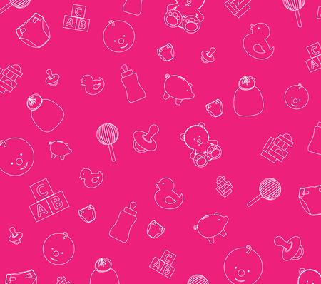 teddy bear vector: Illustration of pink baby wallpaper background