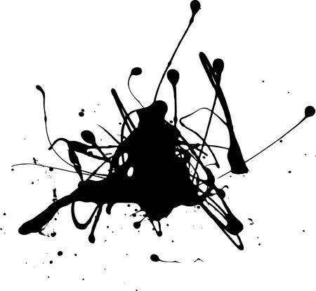 Illustration of  a black splash of grunge paint
