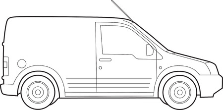 Illustration of  a van, line drawing on white Illustration