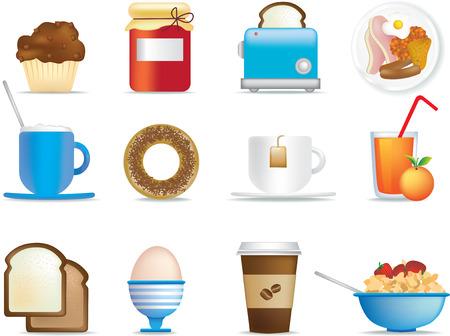 geïllustreerd icon set leuk ontbijt objecten