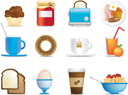 items: illustrated icon set of fun breakfast items Illustration