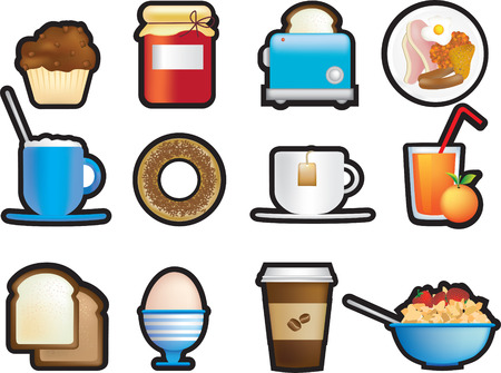 eggs and bacon: illustrated icon set of fun breakfast items Illustration