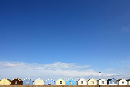 southwold: beach huts wide angle shot in southwold uk