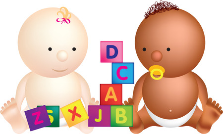 black baby boy: 2 babies play with building blocks with letters on Illustration