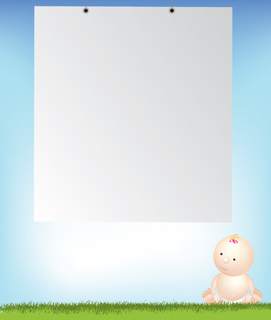 nappies: baby girl by empty background space and sky