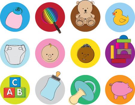 babero: icono de conjunto de ilustraciones de art�culos y juguetes para beb�s Vectores