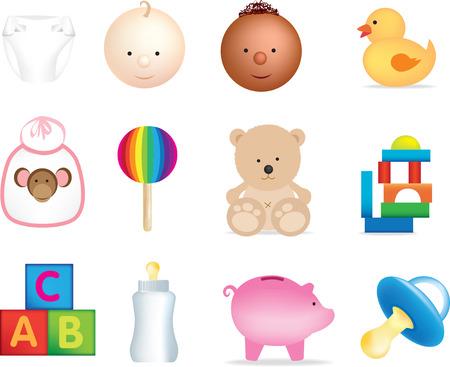 set van illustraties van baby objecten en speel goed  Vector Illustratie