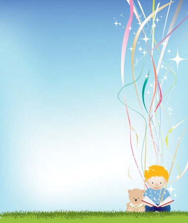 background illustration of a small child reading a book Vector