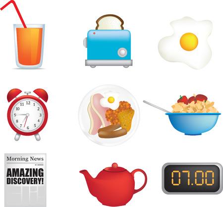 corn flakes: breakfast icon set illustrations set of 9