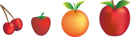 cherry,  orange, apple and strawberry illustration set Vector