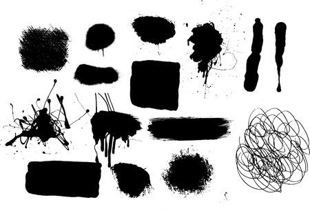 set of grafitti and grunge spray marks Stock Vector - 4974393