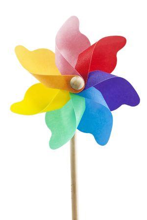 pinwheel: single toy windmill on white background isolated Stock Photo
