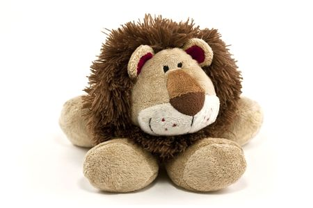 stuffed animals: cuddly lion toy isolated on white background
