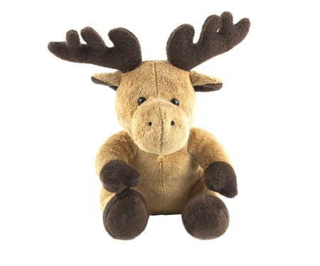 cuddly: cuddly soft reindeer isolated on white background