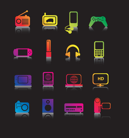 entertaining: set of coloured entertainment icons and symbols on black with reflection