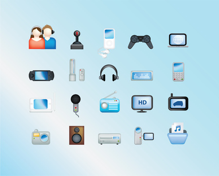 electronic illustration set of icons and symbols on blue Vector