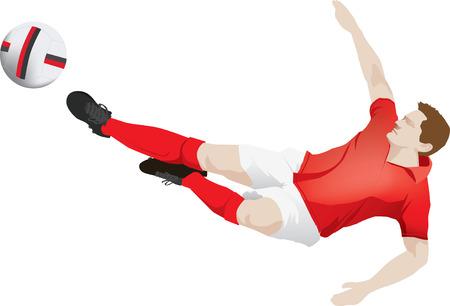 striker: soccer player kicking football wearing red strip