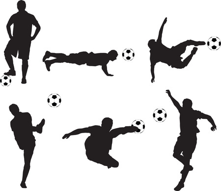 striker: set of detailed illustration silhouettes of soccer players