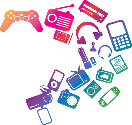 hifi: modern electronic entertainment illustration multi coloured graphic